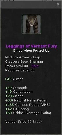 Leggings of vernant fury