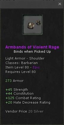 Armbands of violent rage