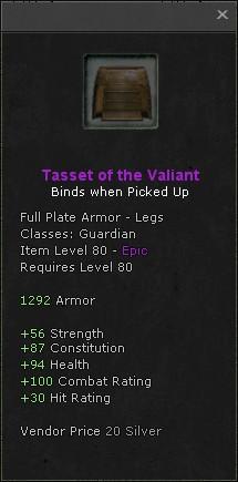 Tasset of the valiant