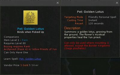 Pet golden lotus