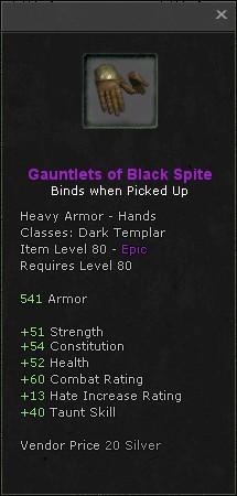 Gauntlets of black spite