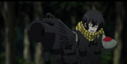 Ep 08 Yukimura aims a gun at Midori