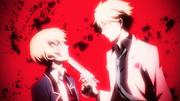 Ep 1 Matsuoka puts a gun to Tachibana's chin