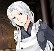 Karin in the dorm kitchen