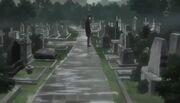 Rin frente a la tumba de Shiro