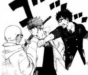 Yukio golpea a Rin
