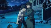 Rin y Yukio tras destruir la puerta