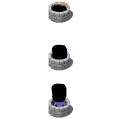 An unused sprite showing the oni leaving the well after the second ladder has been placed, relating to the fact it tries to climb up after the party at the end of Version 1.1. This could be unused because the Oni is too small in this graphic.