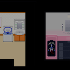 Hiroshi encountering the corpse of Ryota. The unused sprites are seen here.