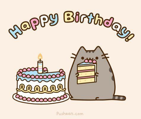 Anime Birthday Cards Grey Pusheen Cat Chibi Cute Sweet And Unique Models For Special Occasions Especially Young Kids