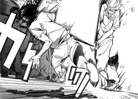 13 Yoshioka attacks Riku with a pipe