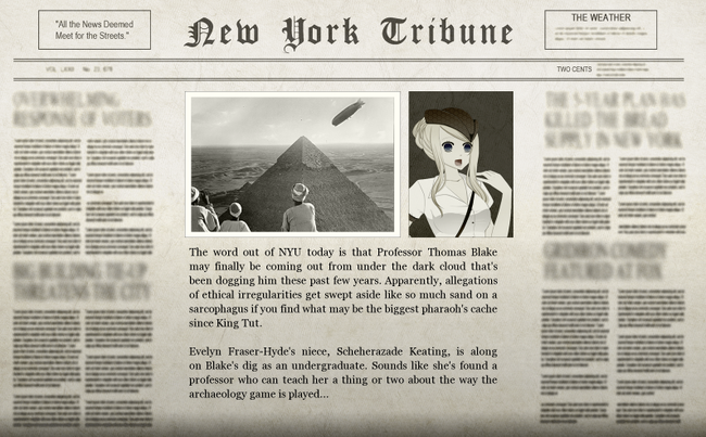 Sterling Egyptian Adventure Newspaper