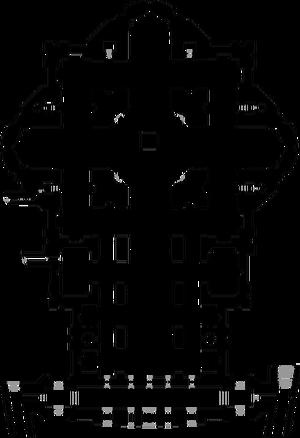 Pianta basilica di San Pietro in Vaticano (con numeri)