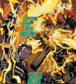 Aquaman using Posidon's Lightning