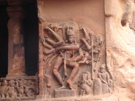Wall relief of dancing Shiva at cave temple no.1 in Badami