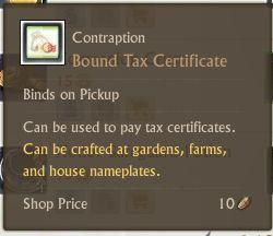 Bound Tax Certificate