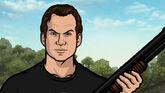 Slater holding his gun