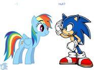 Sonic meets rainbow dash by mounstroso-d4861m9