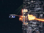 Enterprise firing on the Death Cube
