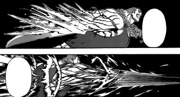 Tatara shrinking and extending his blade