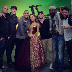 Ariana, Chris, and the crew on the music video set