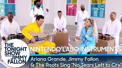 """Ariana Grande, Jimmy & The Roots Sing """"No Tears Left to Cry"""" w Nintendo Labo Instruments"""