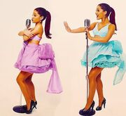 "Ariana posing for her music video ""Put your hearts up"""
