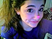 Ariana with a heart on her nose
