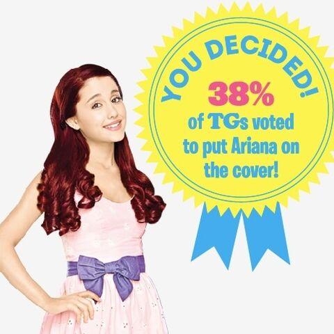 A marzo 2014, tramite un sondaggio online per decidere chi sarebbe dovuto stare in copertina quel mese, il 38% delle persone hanno votato per Ariana.