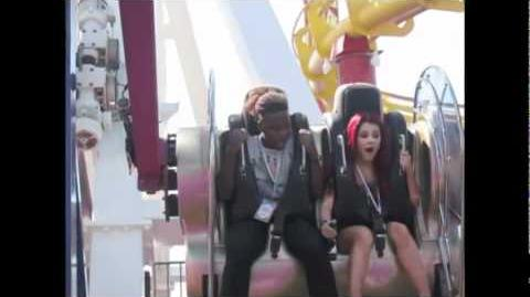 Ariana and Leon on a craaaaaaazy ride at the pier )
