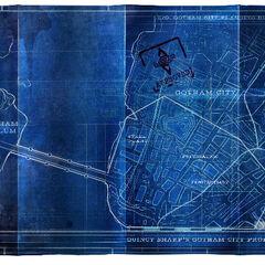 Design do mapa de Arkham City.