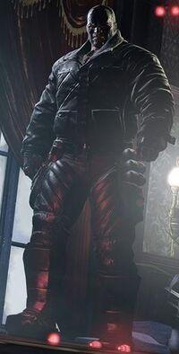 Bane standing over Batman