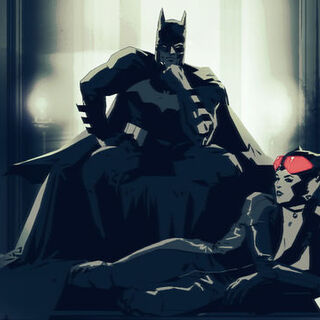 Mulher Gato e Batman em <i>Blackgate</i>.