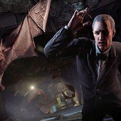 Alfred encontra um morcego na <a class=