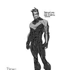 Primeira arte-conceito de Asa Noturna em <i>Arkham City</i>.