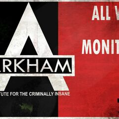 Aviso sobre o monitoramento dos muros de Arkham City.