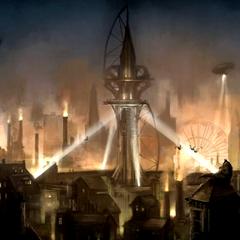 Arte-conceito de Arkham City.