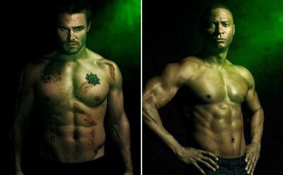Arrow-season-2-posters-stephen-amell-david-ramsey-oliver-diggle-shirtless-cw