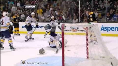Milan Lucic hits Ryan Miller Nov 12, 2011