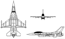 Risszeichnung der F-16
