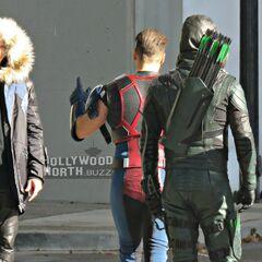 Captain Cold (de Terre X?) avec Steel et Green Arrow