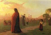 Dante méditant dans le jardin des Cascine à Florence