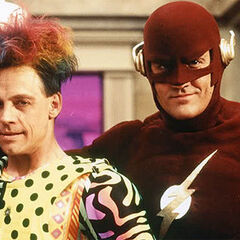 Mark Hamill (James Jesse/Trickster) et John Wesley Shipp (Barry Allen/Flash) dans la série Flash en 1990.