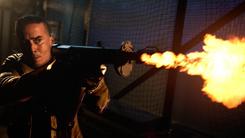 Diaz using a flamethrower