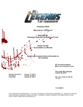 DC's Legends of Tomorrow script title page - Return of the Mack