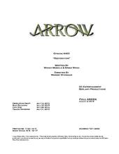Arrow script title page - Restoration