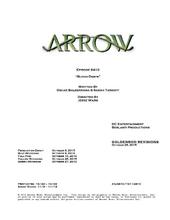 Arrow script title page - Blood Debts