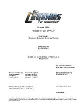 DC's Legends of Tomorrow script title page - Beebo the God of War