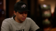 Cisco Ramon wearing a Central City Diamonds cap