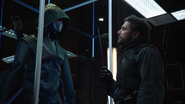 Oliver hallucinates of Slade in the Arrowcave